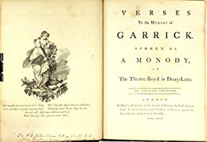 Verses to the memory of Garrick. Spoken as a monody at the Theatre Royal in Drury-Lane. The second ...
