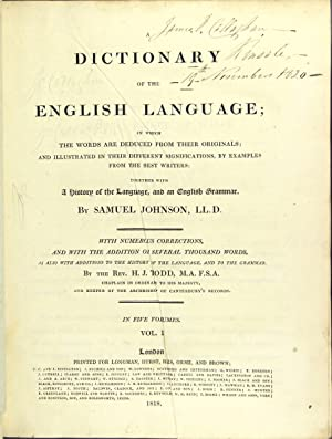 A dictionary of the English language. With numerous corrections, and with the addition of several ...