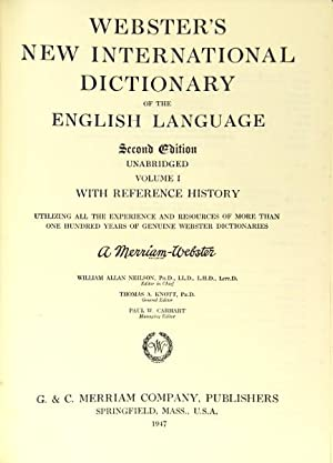Webster's new international dictionary of the English