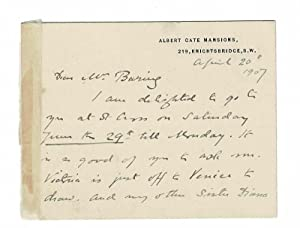 """Two-page autograph letter (on card) signed, addressed to """"Mr. Baring"""", i.e. Maurice Baring ..."""