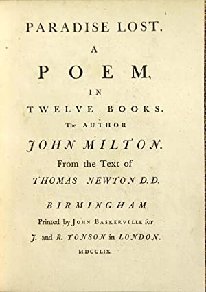 Paradise lost. A poem, in twelve books: Milton, John
