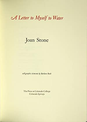A letter to myself to water.Calligraphic elements by Barbara Bash: Stone, Joan