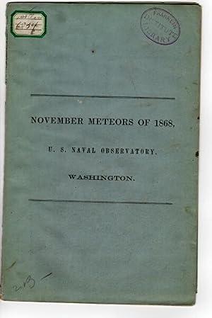 November meteors of 1868, U.S. Naval observatory, Washington [cover title]: Eastman, J. R.