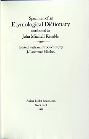 Specimen of an etymological dictionary