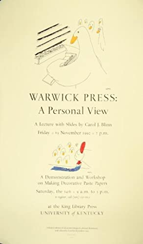 Warwick Press: a personal view. A lecture with slides . A demonstration and workshop on making de...