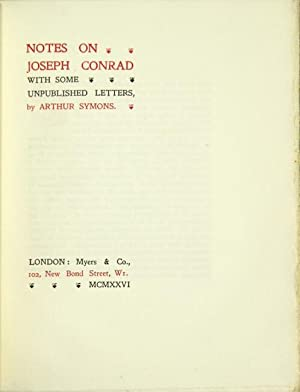 Notes on Joseph Conrad with some unpublished letters