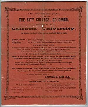 The truth shall make you free. The City College, Colombo. Recognized by the Calcutta University. ...