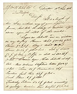 Two-page autograph letter signed to Rotch & Co. of New Bedford, from Horatio Sprague
