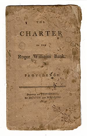 The charter of Roger Williams Bank, in Providence