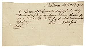 Small autograph document signed as a member of the Committee of Safety, and as Deputy Governor