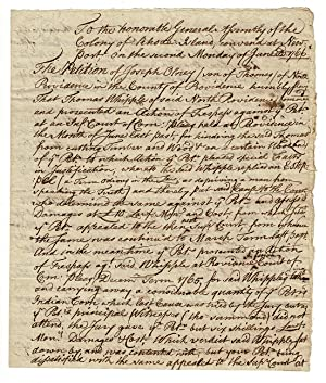 Three-page autograph manuscript petition to the General Assembly of the Colony of Rhode Island co...