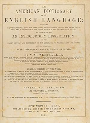 An American dictionary of the English language . revised and enlarged by Chauncey A. Goodrich: ...