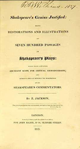 Shakespeare's genius justified: being restorations and illustrations of seven hundred passages...