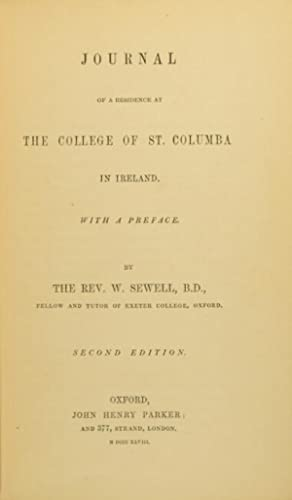Journal of a residence at the College of St. Columba in Ireland. Second edition: SEWELL, REV. ...