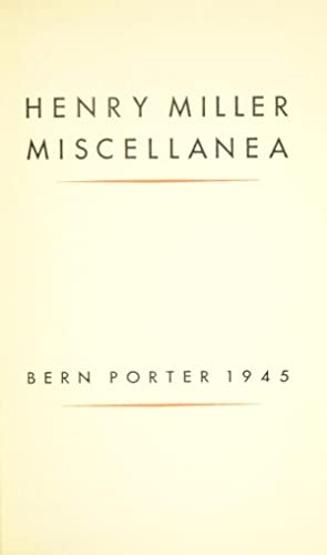 Henry Miller miscellanea: MILLER, HENRY