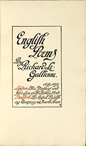 English poems: Le Gallienne, Richard