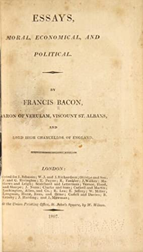 Essays, moral, economical, and political: Bacon, Francis