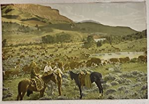 (PHOTOGRAPH) THREE COWBOYS WITH HERD OF HEREFORD CATTLE AT WILLOW CREEK, PITCHFORK RANCH, WYOMING