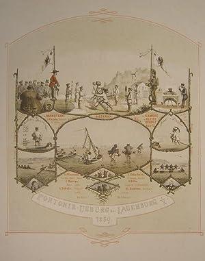Pontonir-Uebung bei Lauenburg a/E. 1869.: LAUENBURG/Elbe - Scheibert: