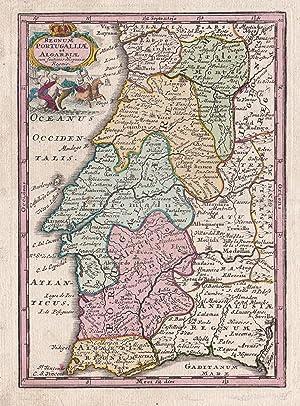 Regnum Portugalliae et Algarbiae cum finitimis Hispaniae.: PORTUGAL. Weigel, Christoph: