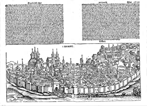 Erfordia / Erffurt (große Panorama-Ansicht).: ERFURT PANORAMA - Schedel, Hartmann: