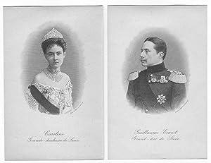 Guillaume-Ernest Grand-duc de Saxe (und) Caroline Grande-duchesse de Saxe (2 Portraits).: WILHELM ...