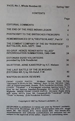 Siegrunen. Number 63, Spring 1997: Landwehr, Richard (editor)