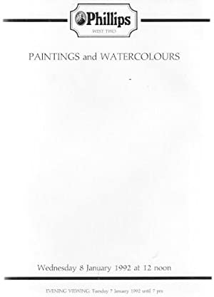 Phillips Auction Catalogue: Paintings and Watercolours : Wednesday 8 January 1992