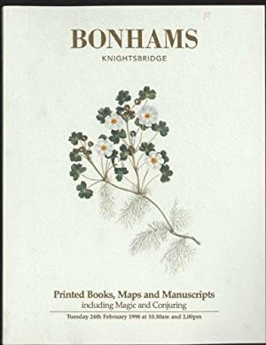 Printed Books Maps and Manuscripts Including Magic and Conjuring : Sale 24 February 1998