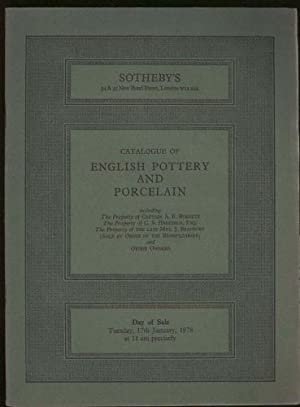 Catalogue of English Pottery and Porcelain: Including the Property of Various Owners (Day of Sale...