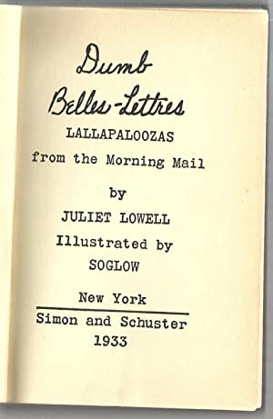 Dumb Belles Lettres: Lallapaloozas from the Morning Mail: Juliet Lowell