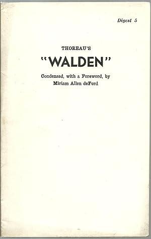 "Thoreau's ""Walden"": Condensed, with a Foreword, by Miriam Allen deFord"
