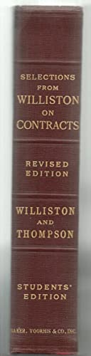 Law of Contracts: Samuel Williston And George J. Thompson