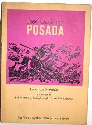 José Guadalupe Posada. Carpeta con 24 grabados y 3 ensayos de. 50 Aniversario de su muerte: ...