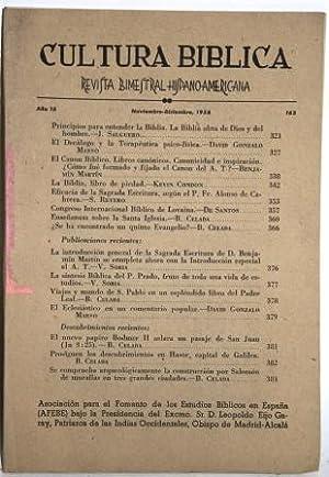 Año 15, nº 163. Sumario: Celada: Prosiguen: CULTURA BIBLICA. Revista