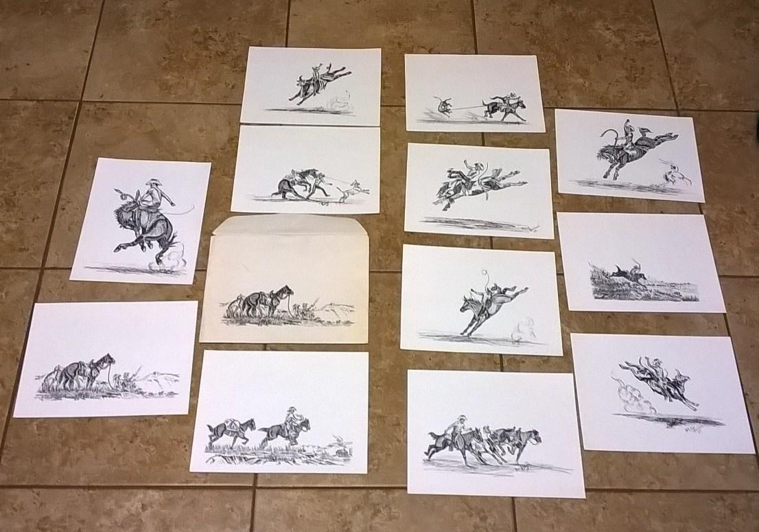 12 Cowboy Life Ink Prints Ballard, Ken Fine Twelve prints of cowboy life ink drawings by Ken Ballard dated '65 contained in an envelope with a copy of one of the drawings on the front. Copies ha