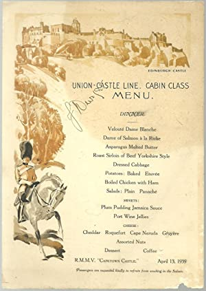 Dinner Menu April R M M V Capetown Castle April 1939