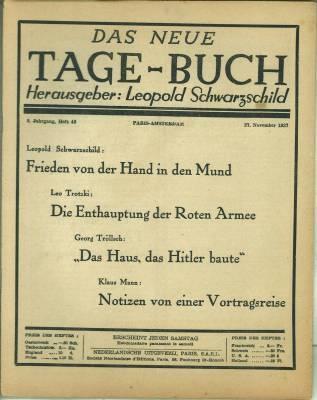 Das Neue Tage-Buch. 5. Jg., Heft 48,: Schwarzschild, Leopold (Hg.):