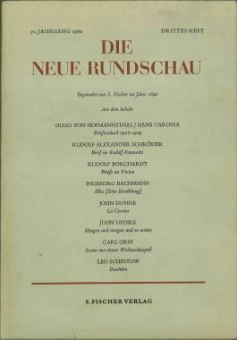Alles. [Eine Erzählung.] In: Die neue Rundschau.: Bachmann, Ingeborg: