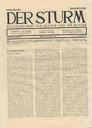Der Sturm. Wochenschrift für Kultur und die Künste. Dritter Jahrgang, Nr. 133, Oktober ...