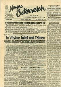 """Neues Oesterreich."""" Organ der demokratischen Einigung. Nr. 3044, 30. April 1955, 11. Jg.: ..."""
