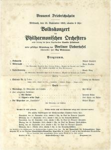 Volkskonzert des Philharmonischen Orchesters unter Leitung des: 10. September 1913: