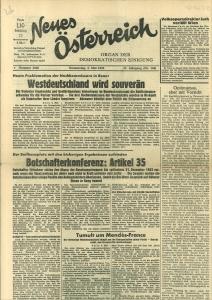 """Neues Oesterreich."""" Organ der demokratischen Einigung. Nr. 3048, 5. Mai 1955, 11. Jg.: Neues ..."""