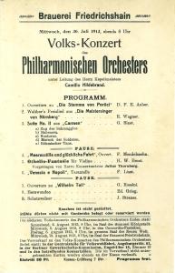 Volks-Konzert des Philharmonischen Orchesters unter Leitung des: 30. Juli 1913: