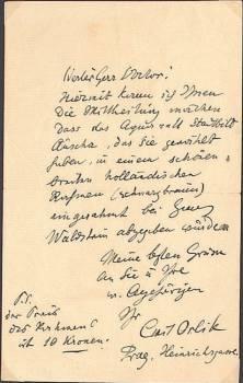 Eighd. achtzehnzeiliger Brief (DIN A 5) an Hugo Salus, einseitig beschrieben mit Signatur und ...