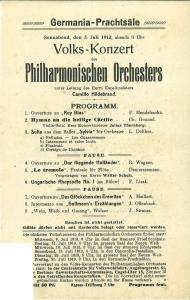 Volks-Konzert des Philharmonischen Orchesters unter Leitung des: 5. Juli 1913: