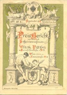 Preis Bericht von dem k. u. k. Hofspielwarenhause Wilh. Pohl, VI. Mariahilferstrasse - N° 5. ...