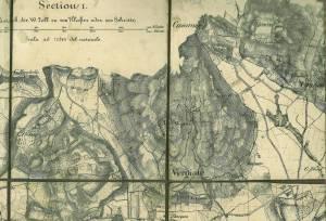 Plan der Umgebung von Soma. Scala ad 1 : 14 400 del naturale. 1200 Klafter : 3000 Schritte. Section...