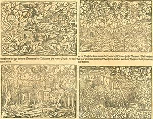 Doppelseitiger Holzschnitt - Vier Szenen aus der Apokalypse].: Varia - Unbez.:
