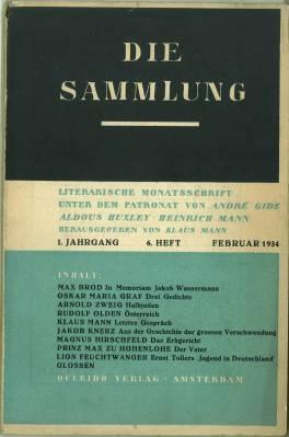 Die Sammlung. Literarische Monatsschrift unter dem Patronat: Mann, Klaus Hg.: